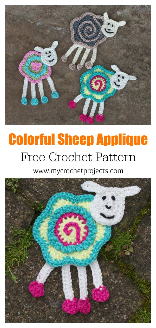 Colorful Sheep Applique Free Crochet Pattern