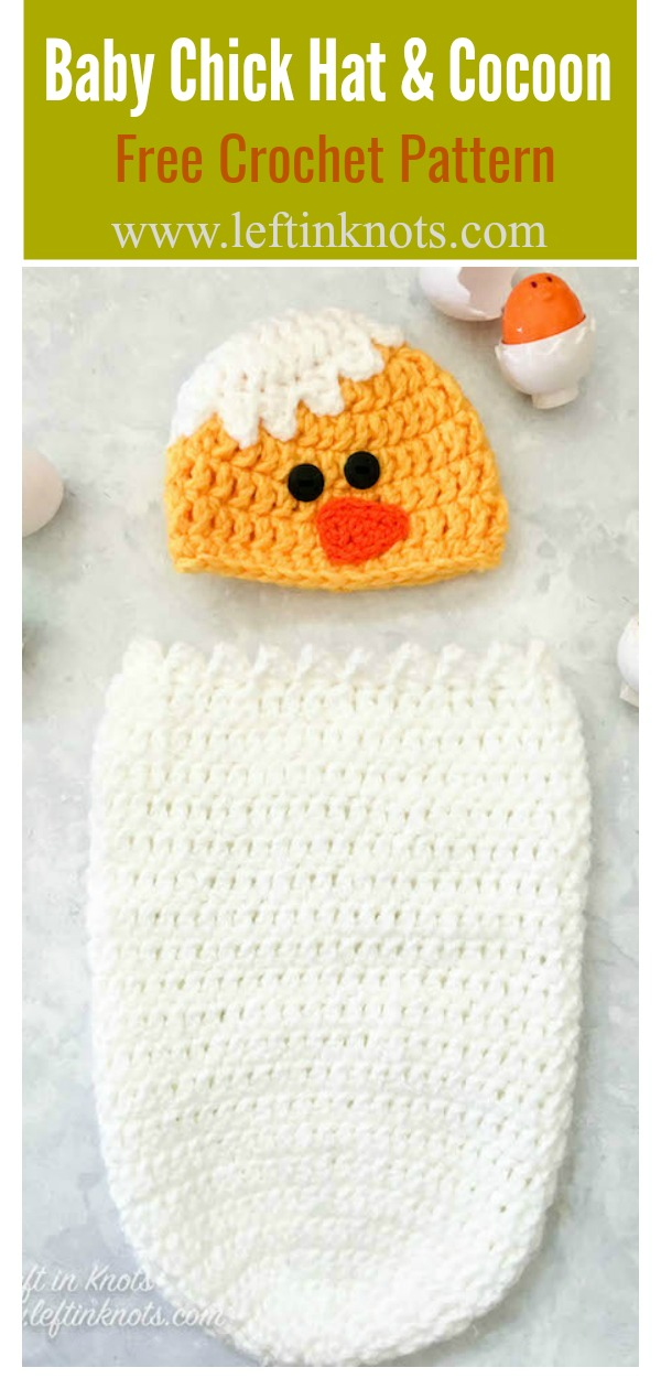 Easter Baby Chick Infant Hat and Cocoon Photo Prop Free Crochet Pattern