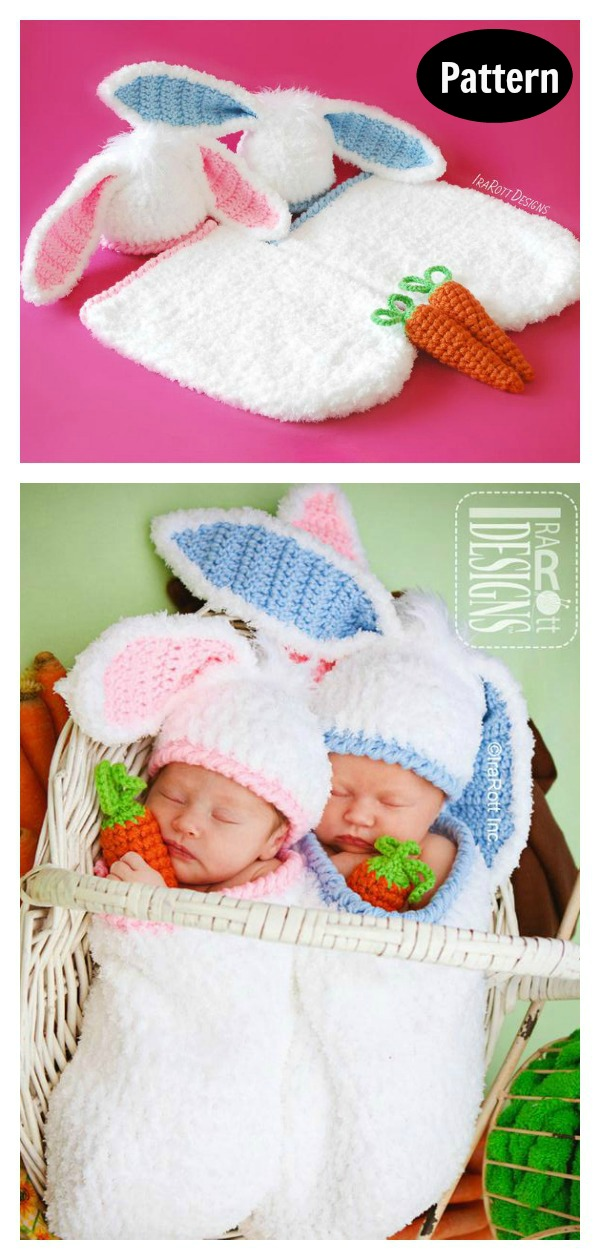 Easter Bunny Hat and Cocoon Photo Prop Crochet Pattern