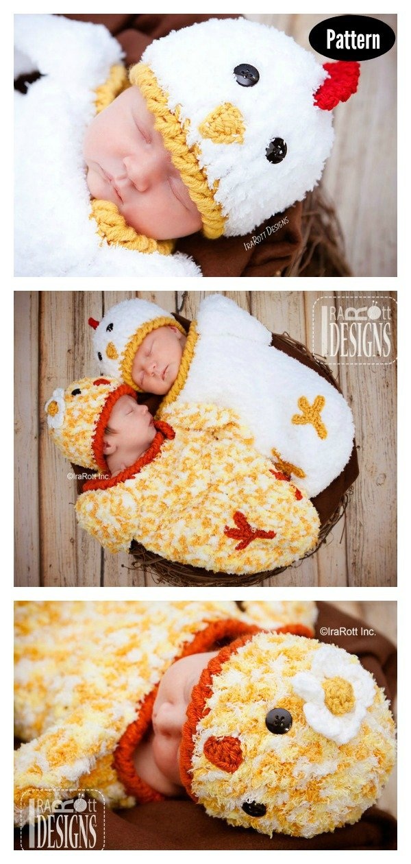 Easter Chicken Baby Hat and Cocoon Set Photo Prop Crochet Pattern