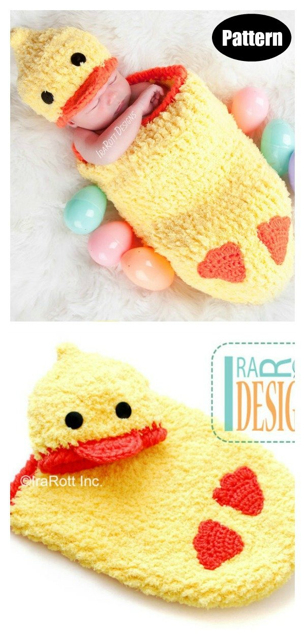 Easter Ducky Baby Hat and Cocoon Set Photo Prop Crochet Pattern