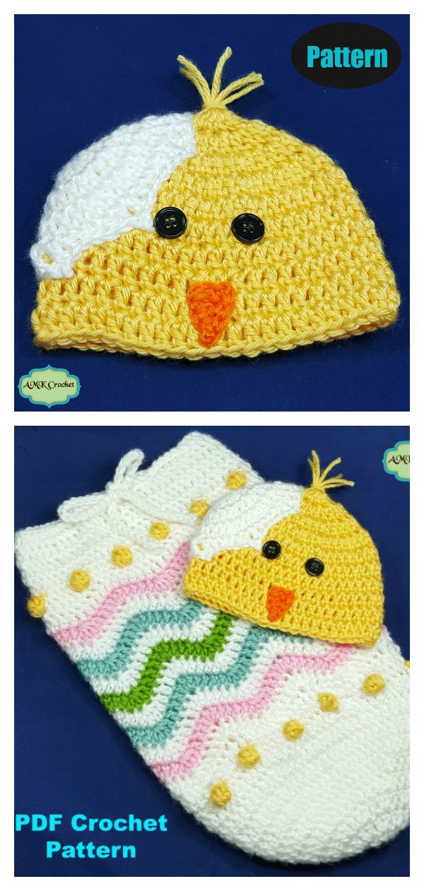 Easter Egg Chick Hat and Cocoon Photo Prop Crochet Pattern