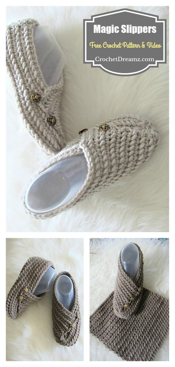 Easy Folding Magic Slippers From Rectangle Free Crochet Pattern and Video Tutorial