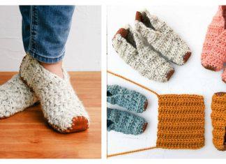Easy Folding Slippers From Rectangle Free Crochet Pattern