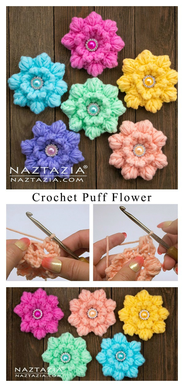 Easy Puff Flower Free Crochet Pattern and Video Tutorial