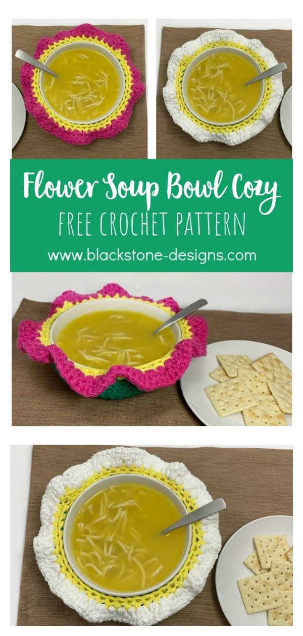 Flower Soup Bowl Cozy Free Crochet Pattern