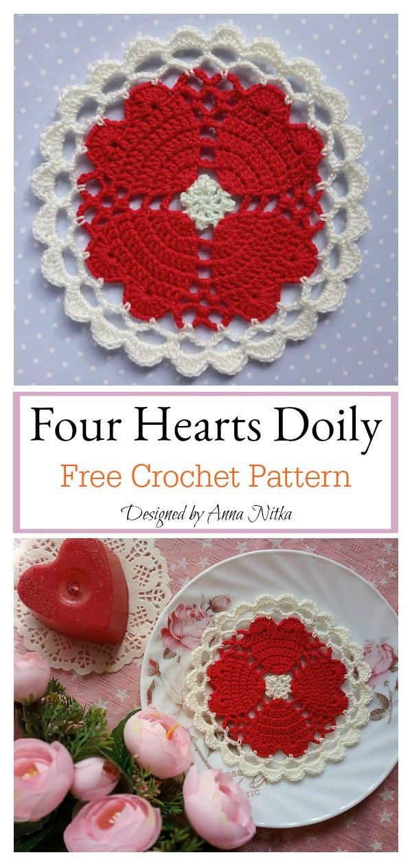 Four Hearts Around Doily Free Crochet Pattern
