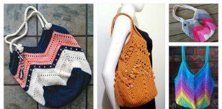 Granny Square Bottom Bag Free Crochet Pattern