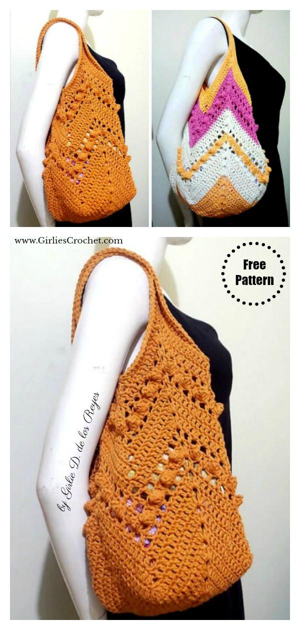 Granny Square Bottom Chevron Summer Bag Free Crochet Pattern