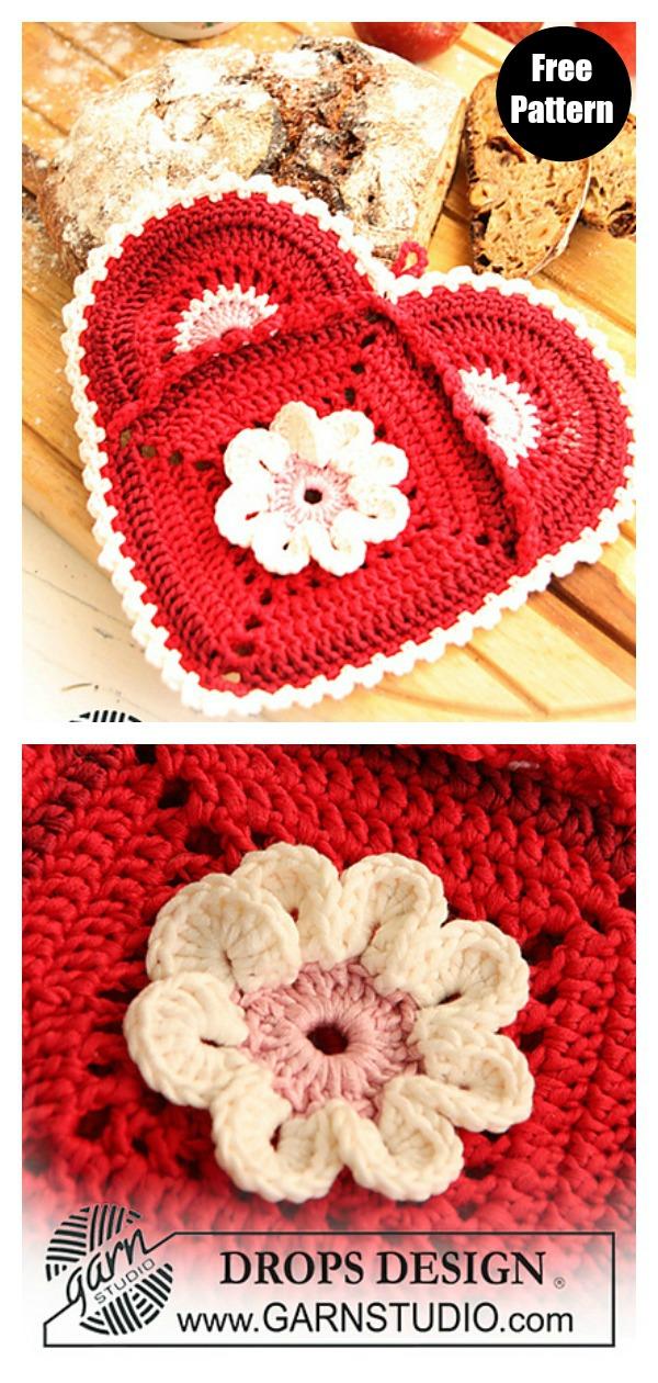 Heart Potholder Free Crochet Pattern