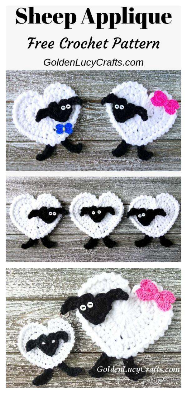 Heart Sheep Applique Free Crochet Pattern