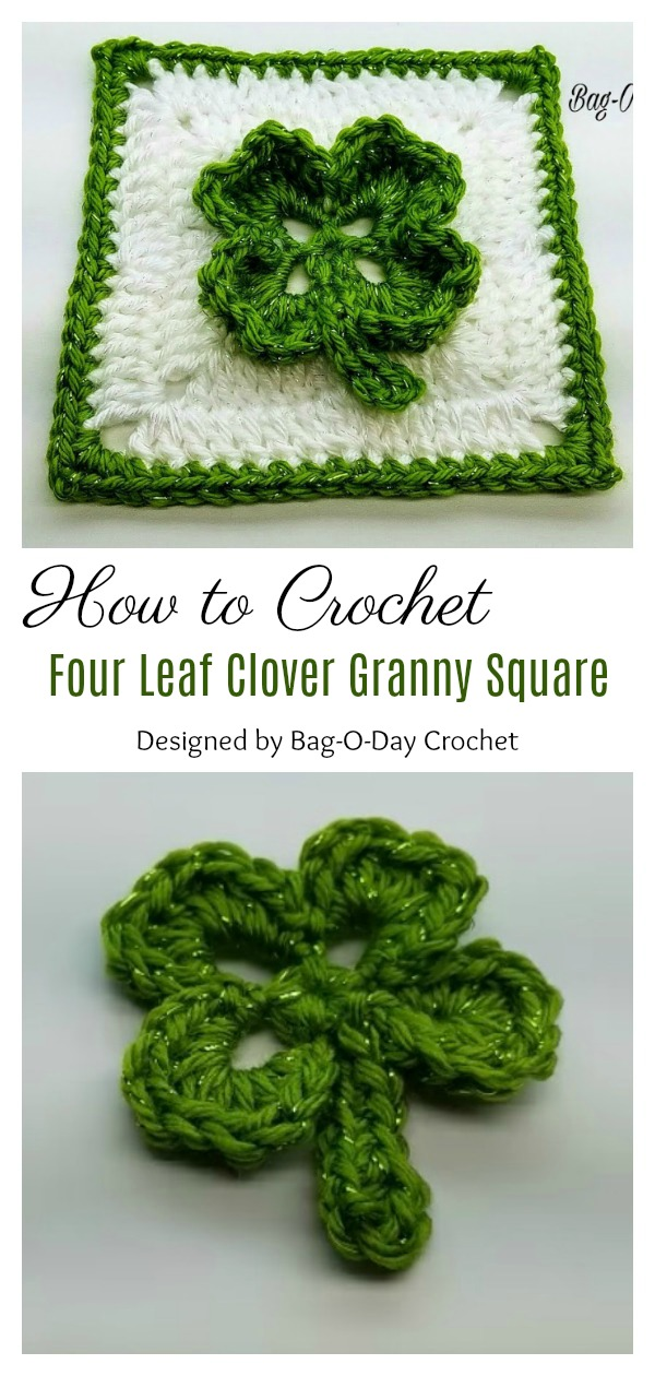 How To Crochet Four Leaf Clover St. Patrick's Day Granny Square