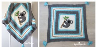 Koala Applique Moss Stitch Blanket Free Crochet Pattern