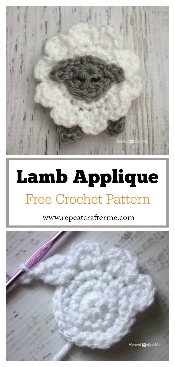 Lamb Applique Free Crochet Pattern