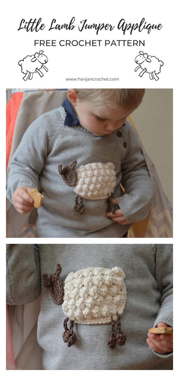 Little Lamb Jumper Applique Free Crochet Pattern