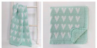 Modern Hearts Baby Blanket Free Crochet Pattern