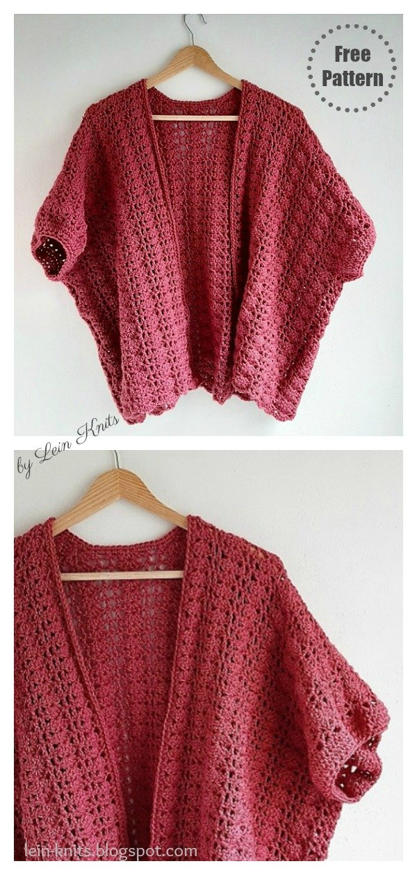 Raspberry Spring Lace Kimono Cardigan Free Crochet Pattern
