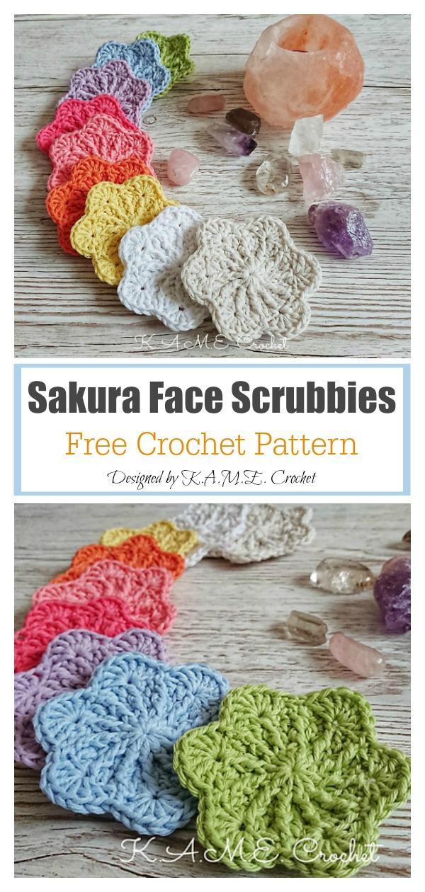 Sakura Face Scrubbies Free Crochet Pattern