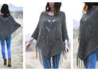 Seamless Fringed Poncho Free Crochet Pattern