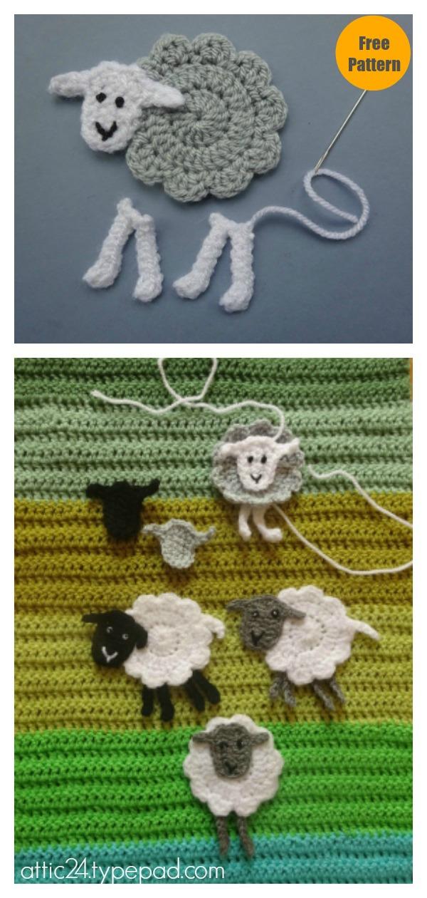 Sheep Appliqué Free Crochet Pattern