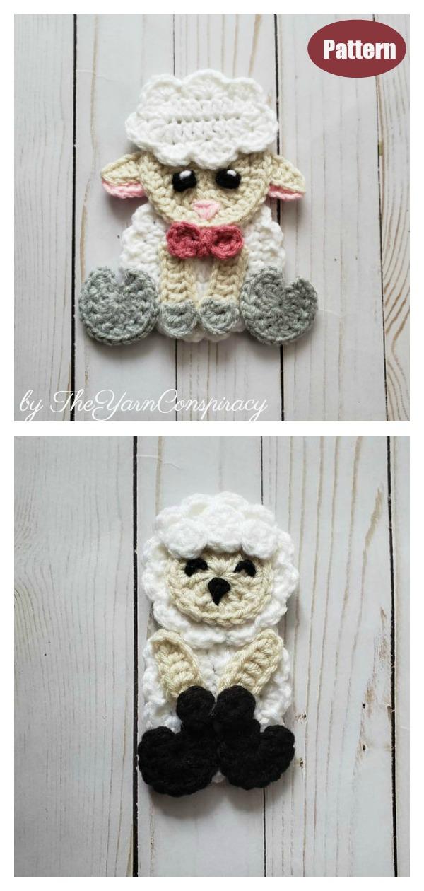 Sheep Lamb Applique Crochet Pattern