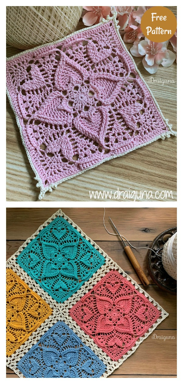 Sweetheart Square Doily Free Crochet Pattern
