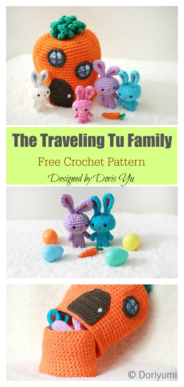 The Traveling Tu Family Easter Bunny Playset Free Crochet Pattern