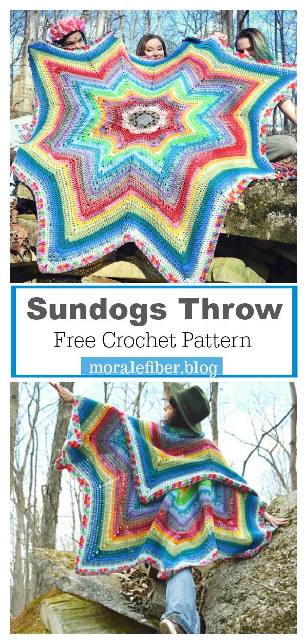 8 Point Star Sundogs Throw Free Crochet Pattern