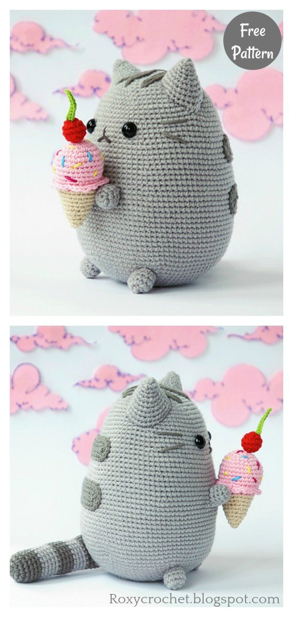 Amigurumi Pusheen with Ice Cream Free Crochet Pattern