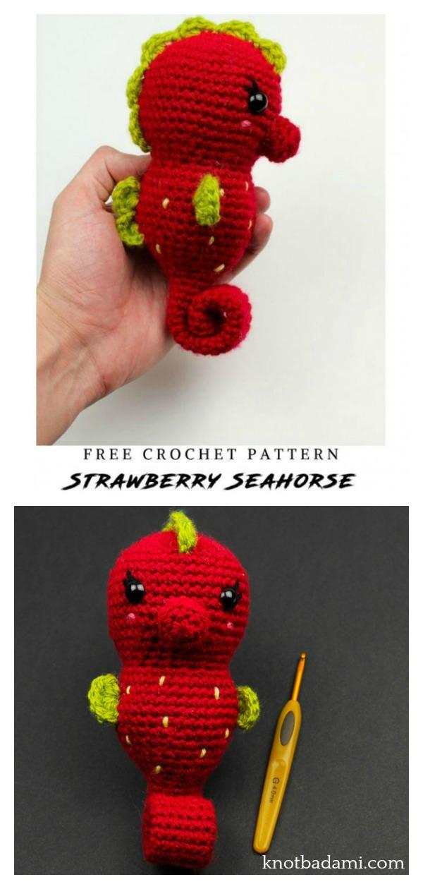 Amigurumi Strawberry Seahorse Free Crochet Pattern