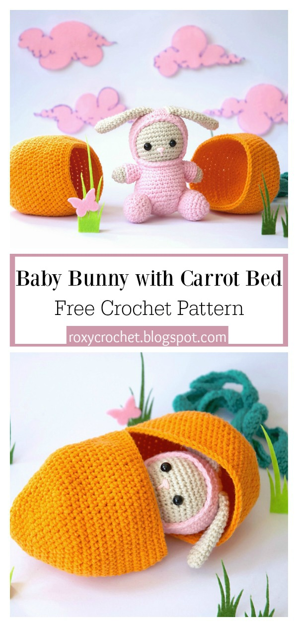 Baby Bunny with Carrot Bed Free Crochet Pattern