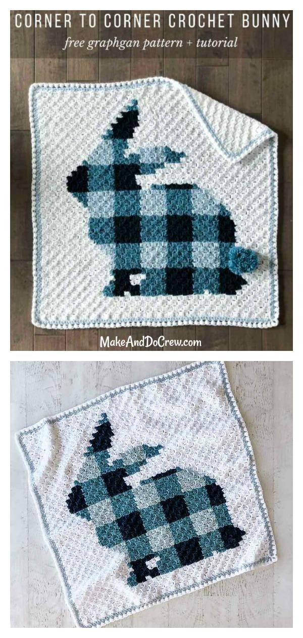 C2C Bunny Blanket Free Crochet pattern