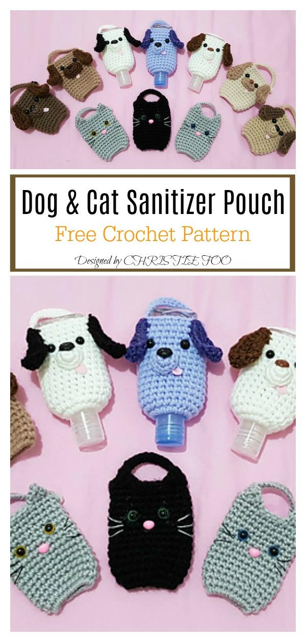 Dog & Cat Sanitizer Pouch Free Crochet Pattern