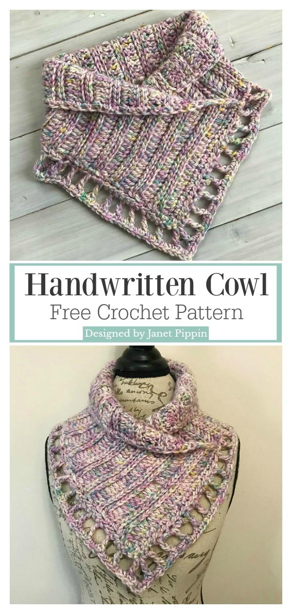 Lace Edging Handwritten Cowl and Neck Warmer Free Crochet Pattern