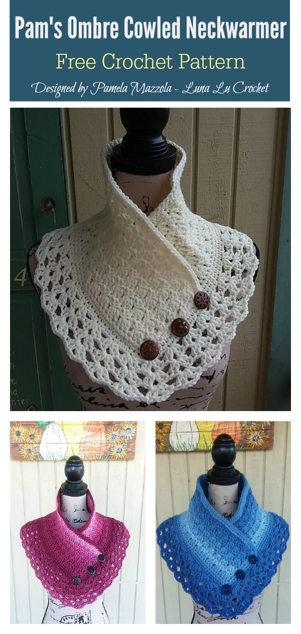 Lace Edging Pam's Ombre Cowled Neckwarmer Free Crochet Pattern