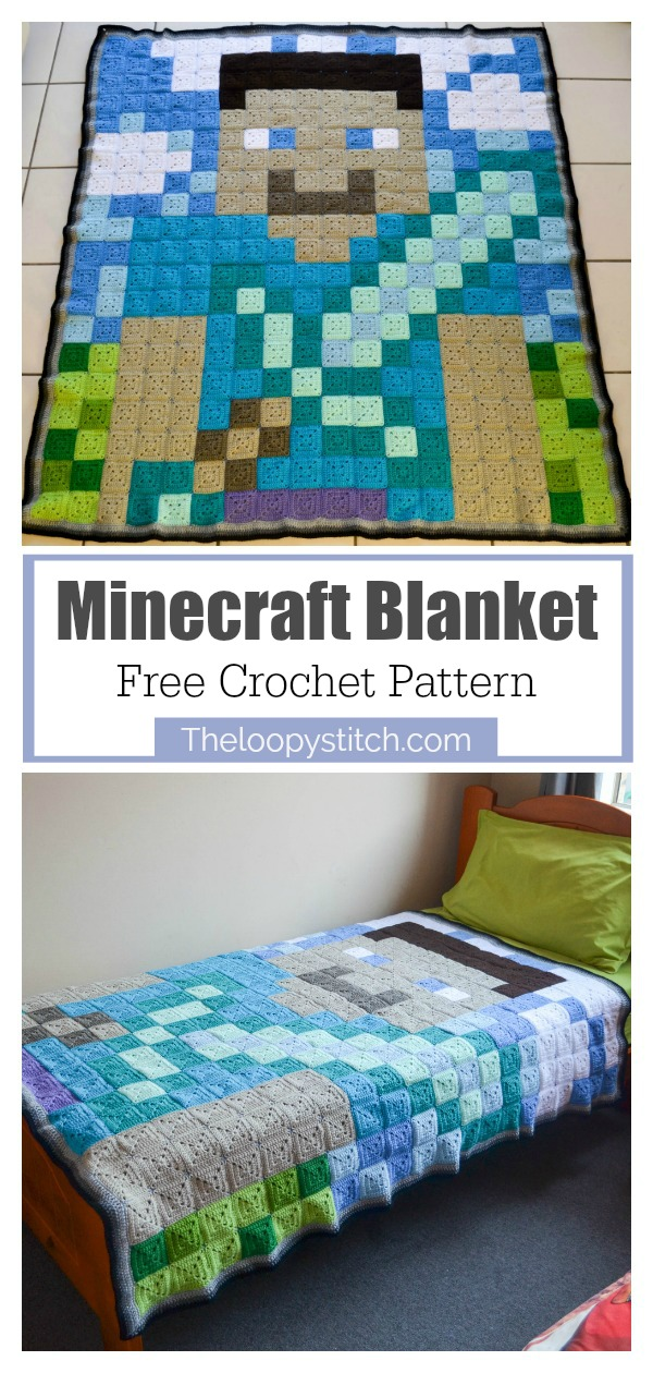 Minecraft Blanket Free Crochet Pattern