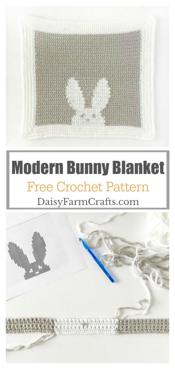 Modern Bunny Lovey Blanket Free Crochet pattern