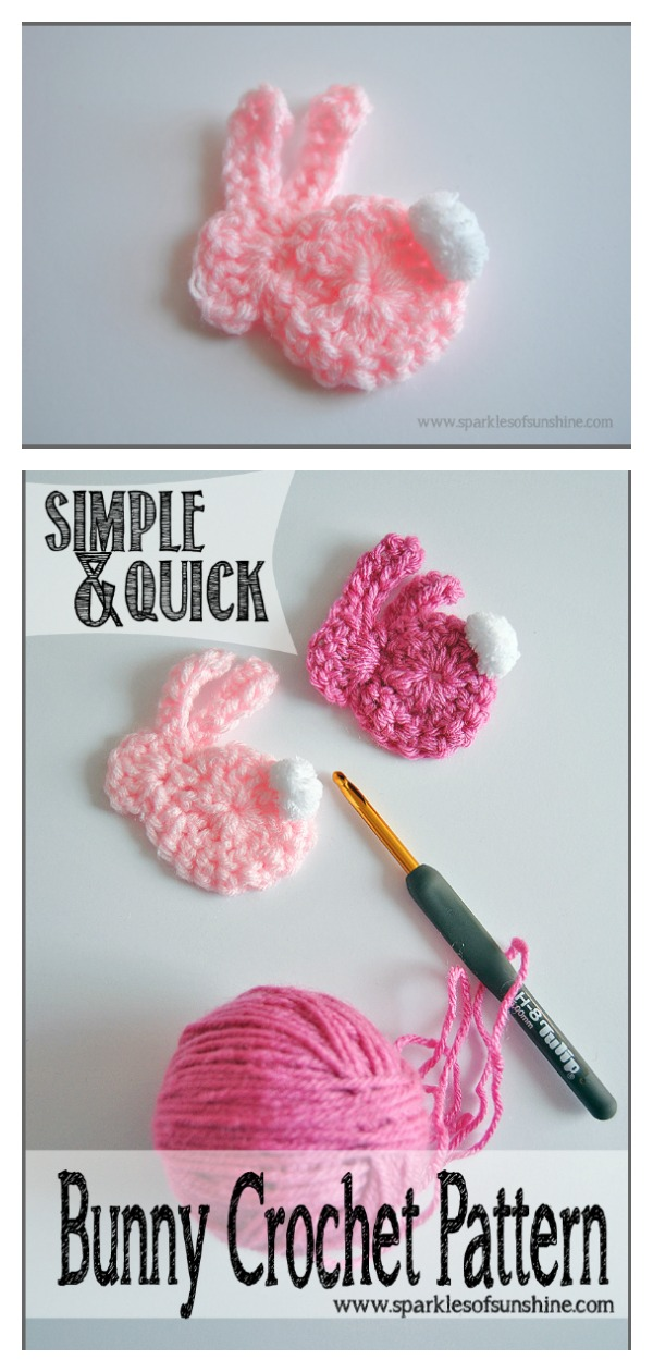 Simple and Quick Bunny Applique Free Crochet Pattern
