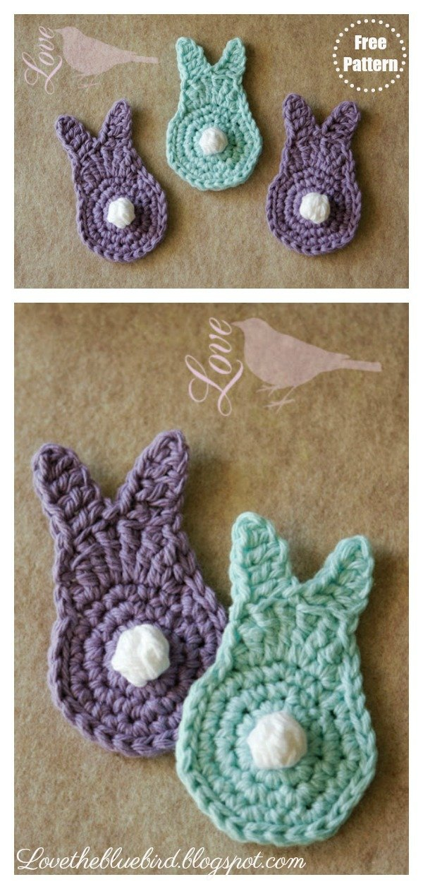Spring Bunny Applique Free Crochet Pattern