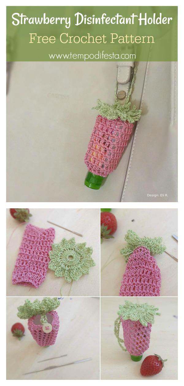 Strawberry Disinfectant Holder Free Crochet Pattern