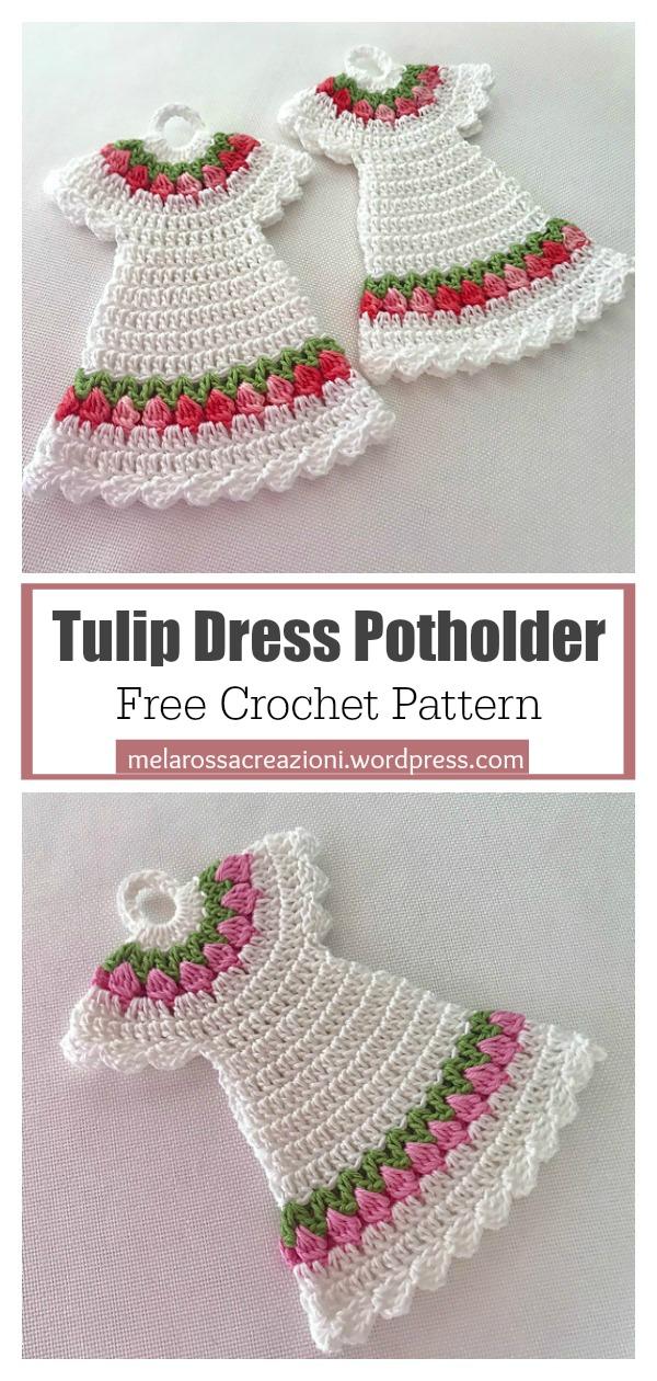Tulip Stitch Dress Potholder Free Crochet Pattern