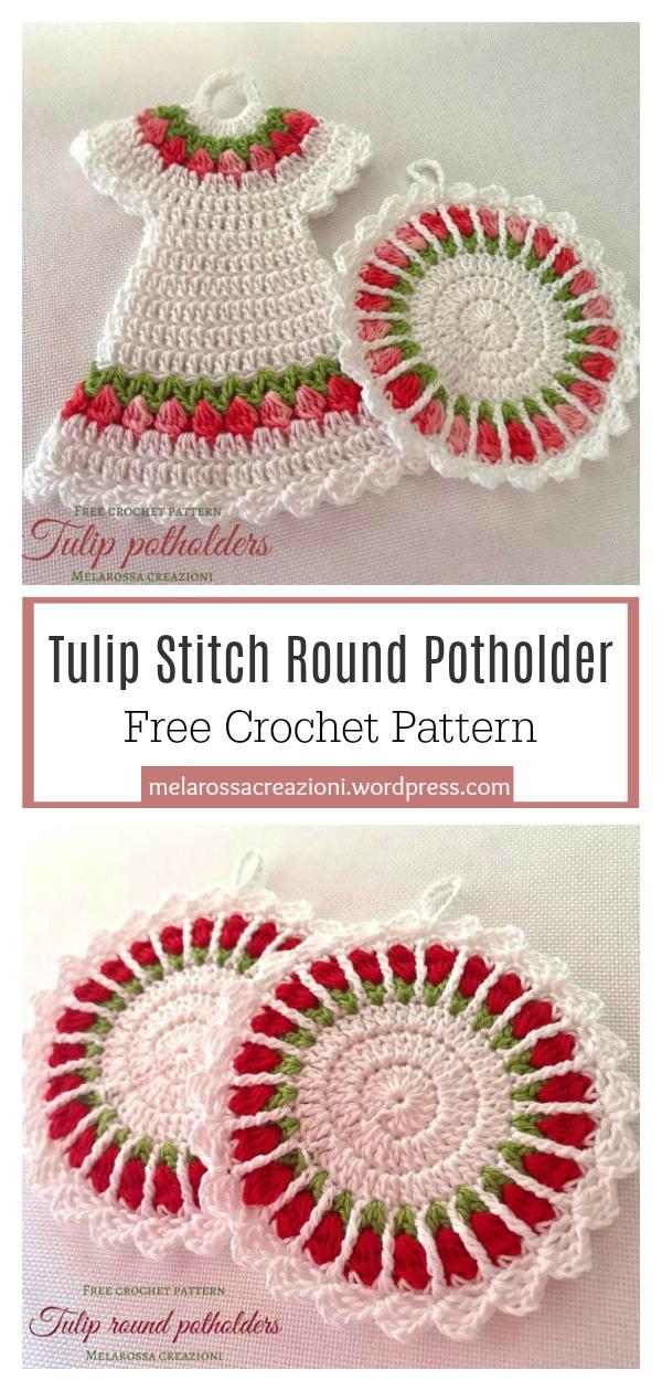 Tulip Stitch Round Potholder Free Crochet Pattern