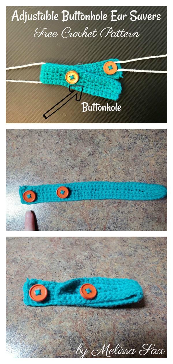 Adjustable Buttonhole Ear Savers for Masks Free Crochet Pattern