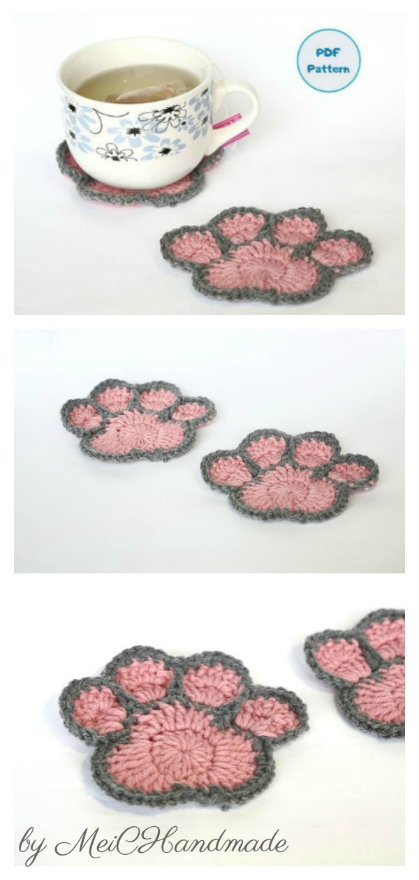 Animal Paw Print Coaster Crochet Pattern