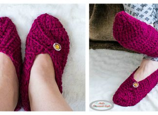 Button Slippers from Square Free Crochet Pattern and Video Tutorial