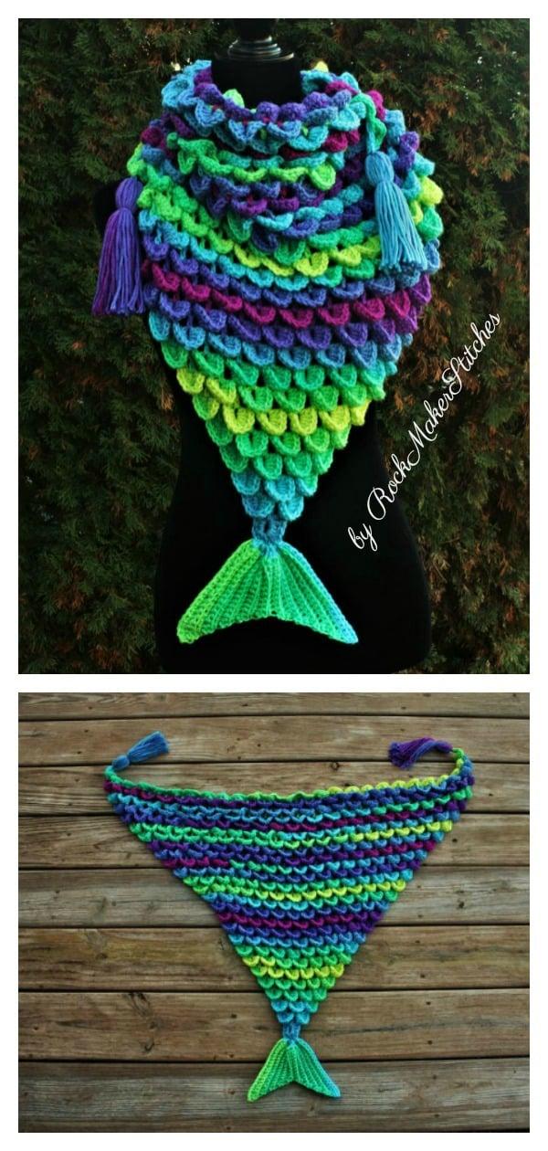 Crochet Mermaid Triangle Scarf