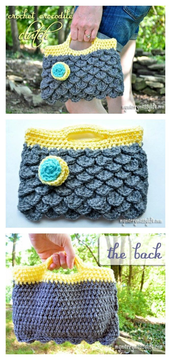 Crocodile Clutch Purse Free Crochet Pattern