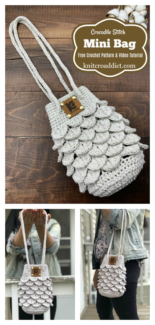 Crocodile Stitch Mini Bag Free Crochet Pattern and Video Tutorial