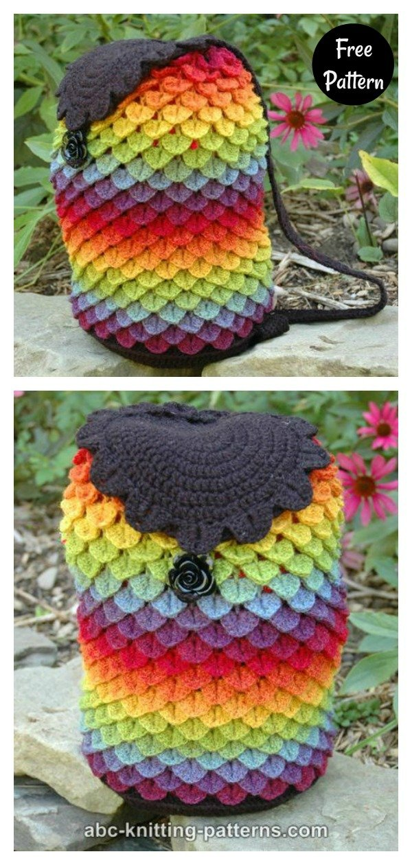 Crocodile Stitch Rainbow Dragon Bag Free Crochet Pattern