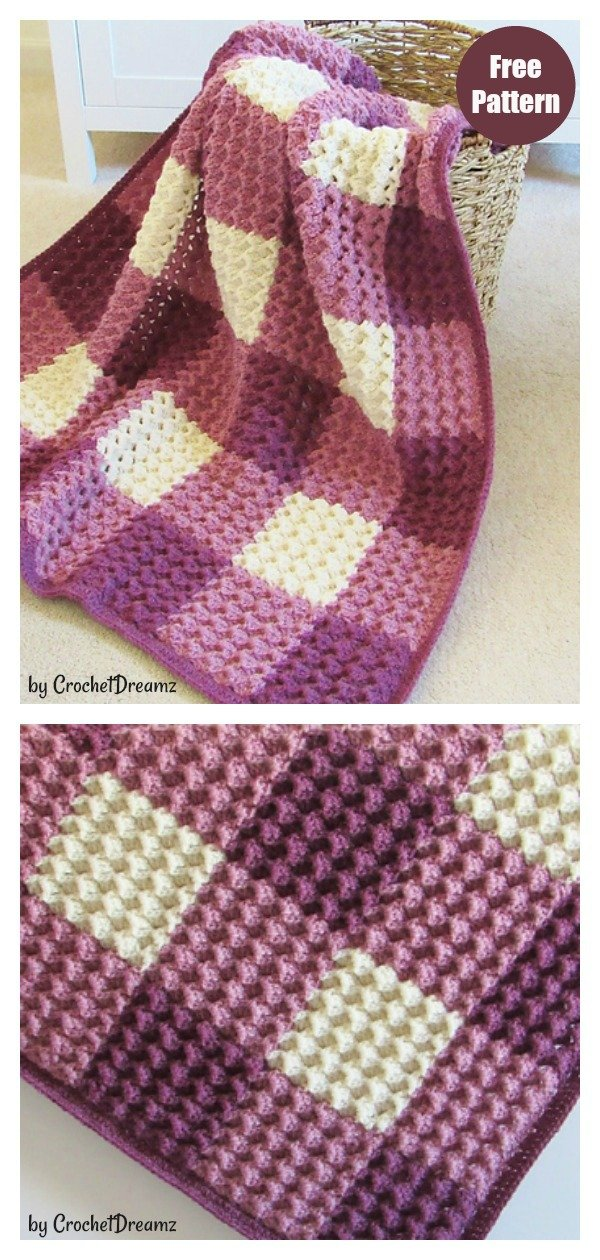 Crystal Waves Gingham Blanket Free Crochet Pattern and Video Tutorial